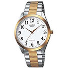 CASIO 富豪金銀時尚指針紳士腕錶(MTP-1274SG-7B)-白色數字面x金邊/36mm