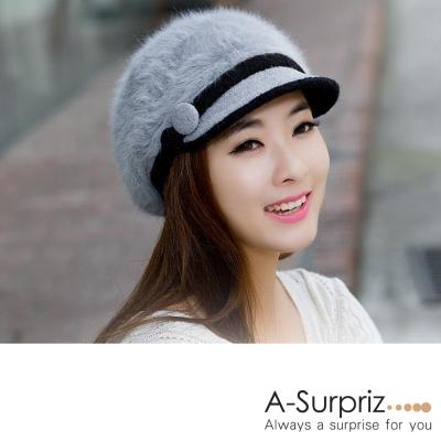 A-Surpriz-甜美雙色圓釦兔毛貝蕾帽-淺灰