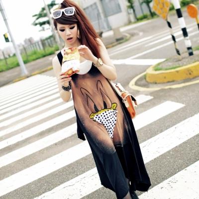 古著 生氣鴨子載點點三角口罩咖啡色潑墨背心洋裝