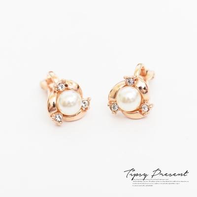 微醺禮物 耳夾  鍍18K金 小巧精緻 珍珠 耳環 無耳洞
