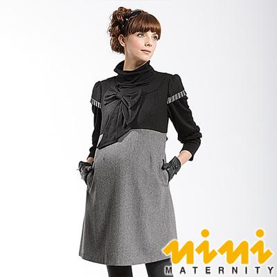 nini專櫃孕婦裝-雅緻雙色拼接羊毛秋冬孕婦洋裝-黑灰-U2W06