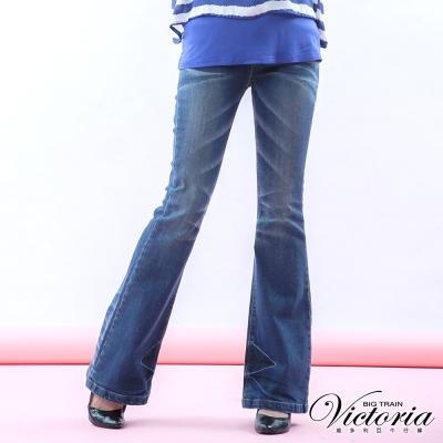 Victoria 中高腰銀河彩鑽喇巴褲-女-中藍