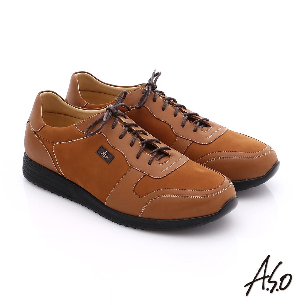 A.S.O 輕量抗震 牛皮拼接綁帶氣墊休閒鞋 卡其色