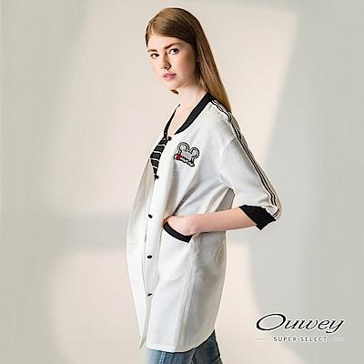 OUWEY歐薇 率性裝飾五分袖薄外套(白)-動態show