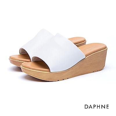 達芙妮DAPHNE 涼鞋-簡約復古寬版穆勒涼拖鞋-白