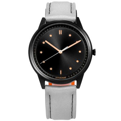 HyperGrand HIDE x SEEK魔鬼氈徽章反光面料真皮手錶-黑x銀灰/40mm
