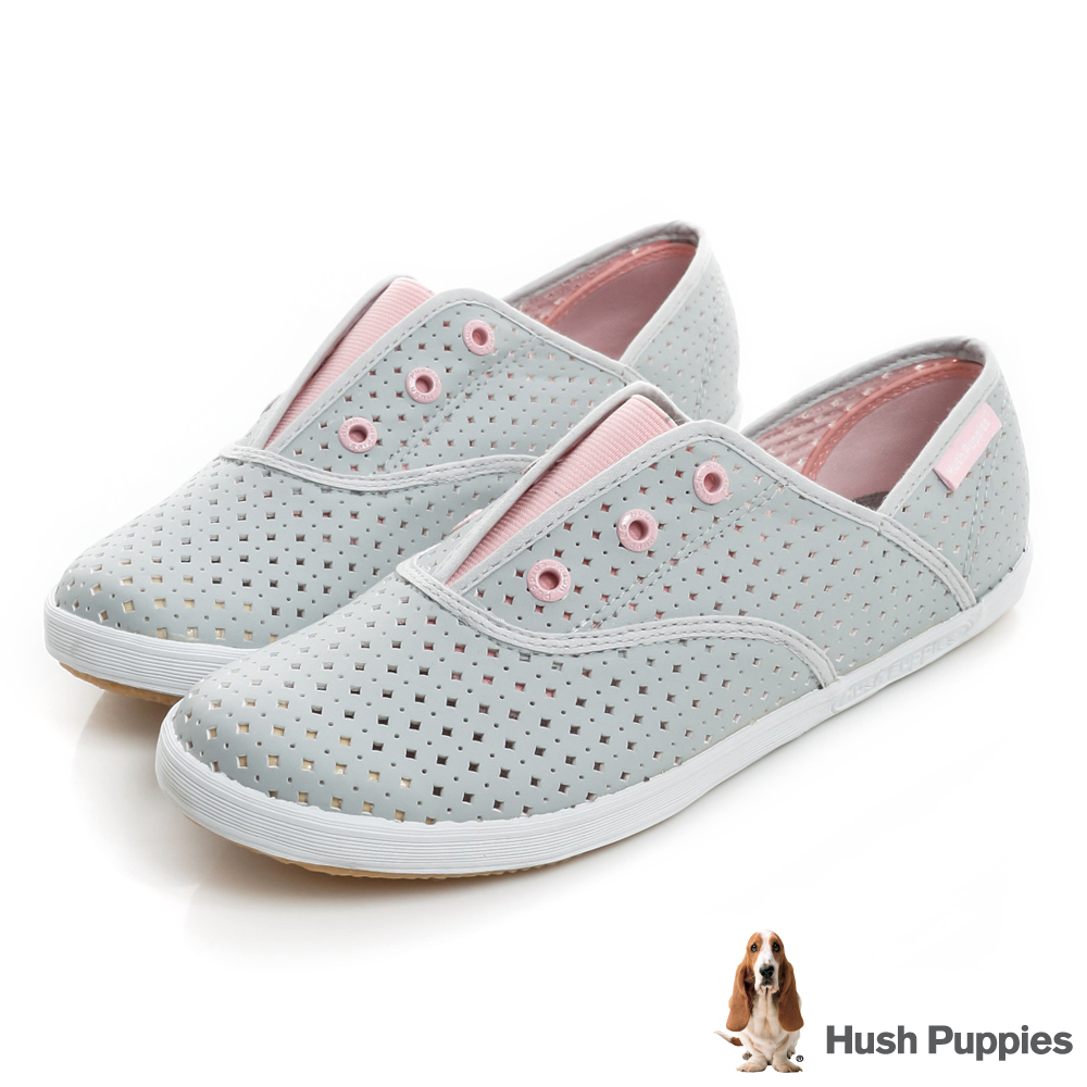 Hush Puppies 涼感沖孔咖啡紗皮質懶人帆布鞋-淺灰