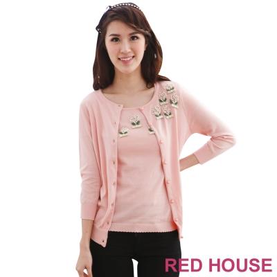 RED-HOUSE-蕾赫斯-珍珠花朵針織外套-共2