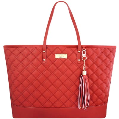 BCBG 紅色皮革菱格紋托特包