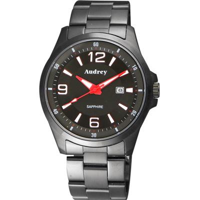 Audrey 歐德利 薄型設計紳士腕錶(AUGM2593)-黑x紅指針/42mm