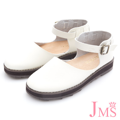JMS-學院風造型穿邊包跟厚底娃娃鞋-白色