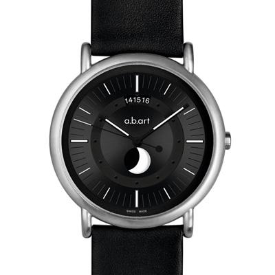 a.b.art KLD Moon Phase月相盈虧夜光顯示紀念腕錶-黑/38mm