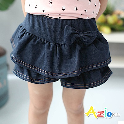 Azio Kids 童裝-褲裙 蝴蝶結層次鬆緊褲裙(深藍)