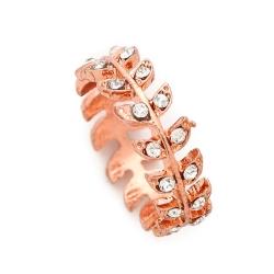 SHASHI 紐約品牌 Amelia 鑲鑽葉子圓形戒指 小寬版925純銀鑲18K玫瑰金
