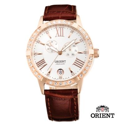 ORIENT 東方錶 ELEGANT系列 雙眼鑲鑽機械女錶-白x玫瑰金/40mm