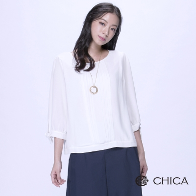 CHICA-清新優雅蝴蝶結綁袖造型上衣-2色