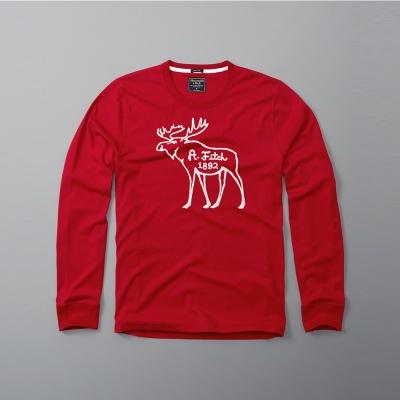 A&F 經典刺繡大麋鹿設計長袖T恤紅色 AF Abercrombie