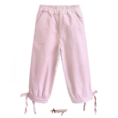 Anny甜美粉嫩造型雙鈕釦綁帶蝴蝶結設計長褲*7259粉