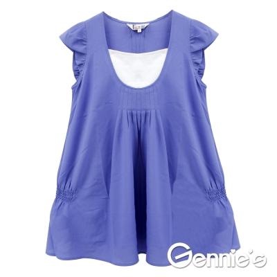 Gennie's奇妮-品味時尚春夏孕婦上衣 (T3721)-紫藍