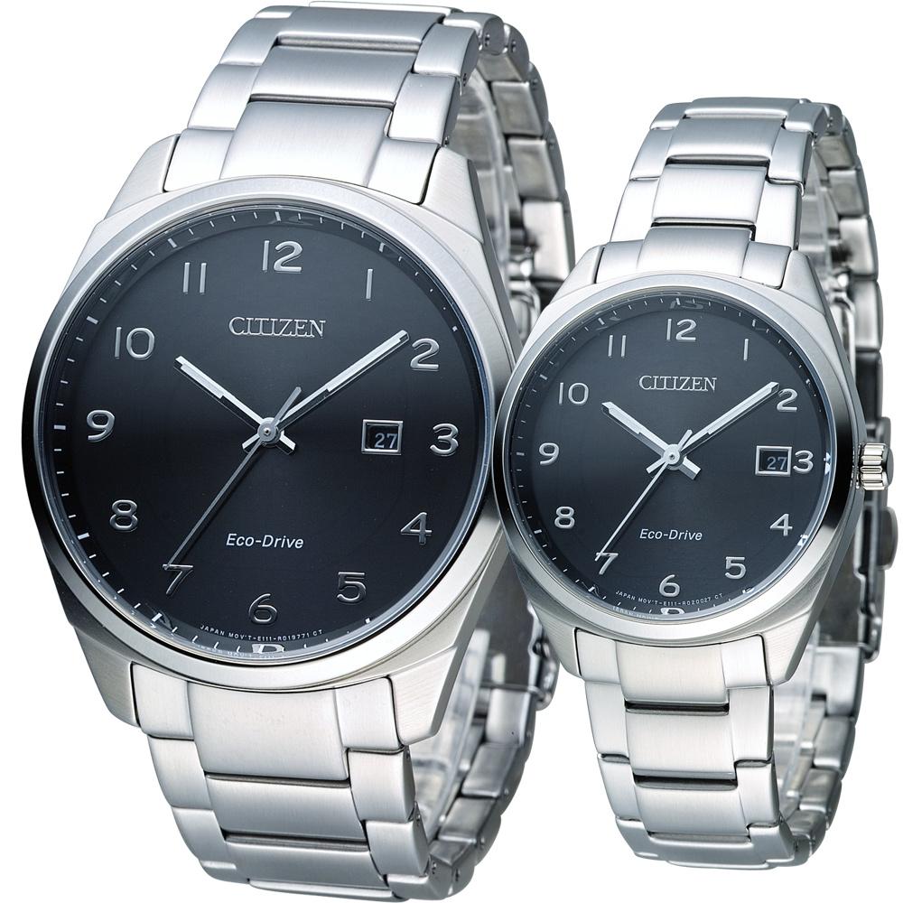 CITIZEN 星辰 Eco-Drive 光動能愛戀時尚對錶-黑/42+35mm