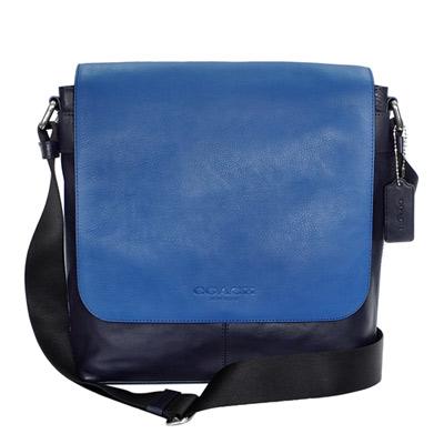 COACH海藍拼接深藍全皮翻蓋方型斜背男包