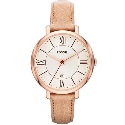FOSSIL 羅馬風尚優雅皮革腕錶-銀白x卡其/36mm