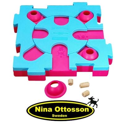 瑞典Nina Ottosson狗狗益智玩具-貓貓混很大拼拼樂/(中階/粉藍+桃紅)
