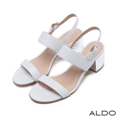 ALDO-原色真皮鞋面一字拉帶式涼鞋-氣質白色