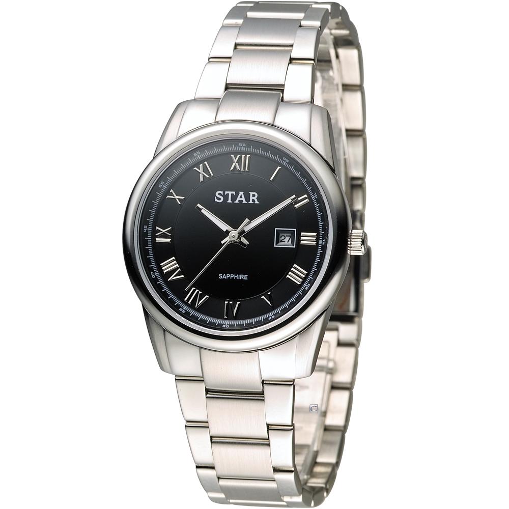 STAR 時代 時尚摩登仕女腕錶-黑色/32mm