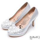 DIANA 漫步雲端瞇眼美人款--夢幻逸品玫瑰花水鑽新娘跟鞋 – 銀