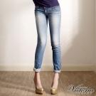 Victoria TENCEL低腰噴漆小直筒褲-女-中藍