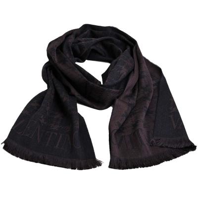 VALENTINO 千鳥圖騰字母LOGO高質感羊毛圍巾(黑灰/咖)