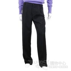 BOSS 黑色抓褶西裝褲(綠色logo)