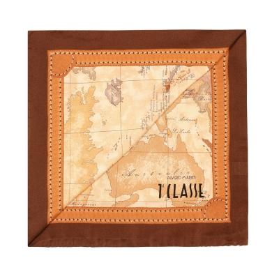Alviero Martini 義大利地圖 經典地圖邊框配色方巾-深咖(50X50)