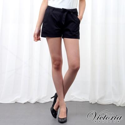 Victoria 綁帶褲口反摺短褲-女-黑