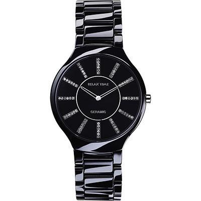 Relax Time 俏麗佳人晶鑽陶瓷腕錶-黑/32mm
