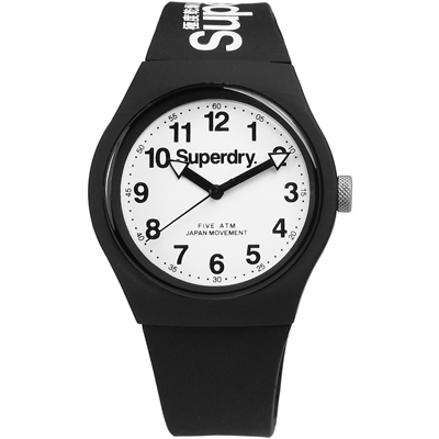 Superdry Urban 都市滑板少年矽膠腕錶-黑x白/38mm