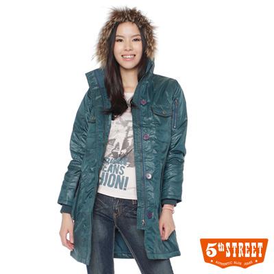 5th-STREET-長版鋪棉連帽外套-女款-灰藍