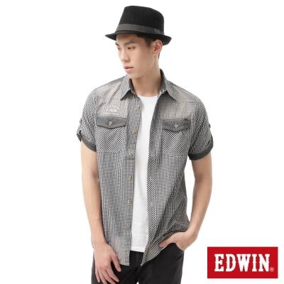 EDWIN 襯衫 細格擦色短袖襯衫-男-黑色