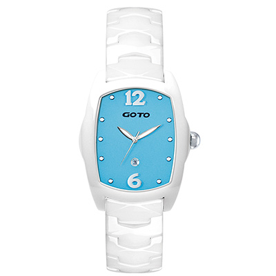 GOTO Sweet color 甜美陶瓷時尚腕錶-白x藍/34mm