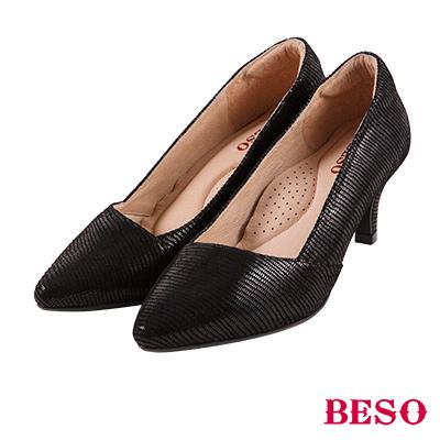 BESO 質感簡約 尖頭斜口上班族OL跟鞋~黑