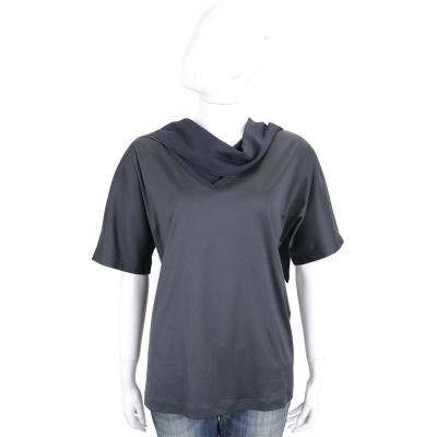FABIANA FILIPPI 深藍色造型領口設計短袖上衣