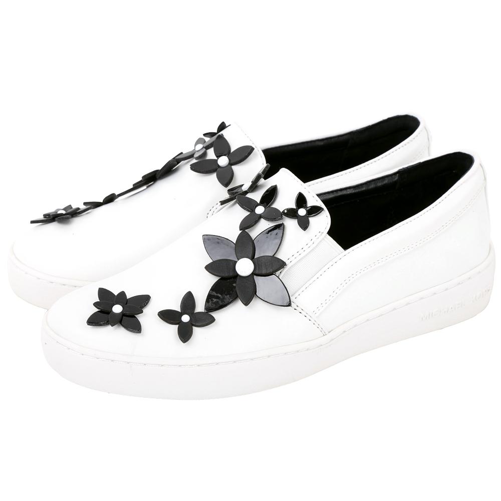 Michael Kors Lola 撞色花朵飾皮革平底休閒鞋(白色)