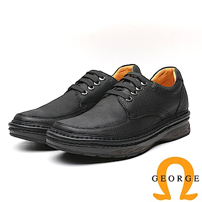 GEORGE 喬治-內增高系列 經典素面款綁帶休閒鞋-黑