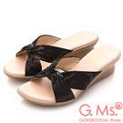 G.Ms. MIT系列-扭結印花羊皮坡底涼拖鞋-黑色