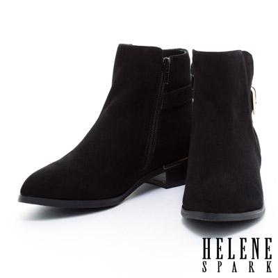 踝靴-HELENE-SPARK-後側皮帶造型素面尖頭粗跟踝靴-黑麂皮