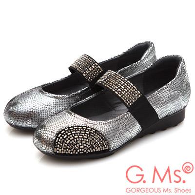 G.Ms. 燙鑽坡跟系列-蛇紋羊皮瑪莉珍A款-銀色