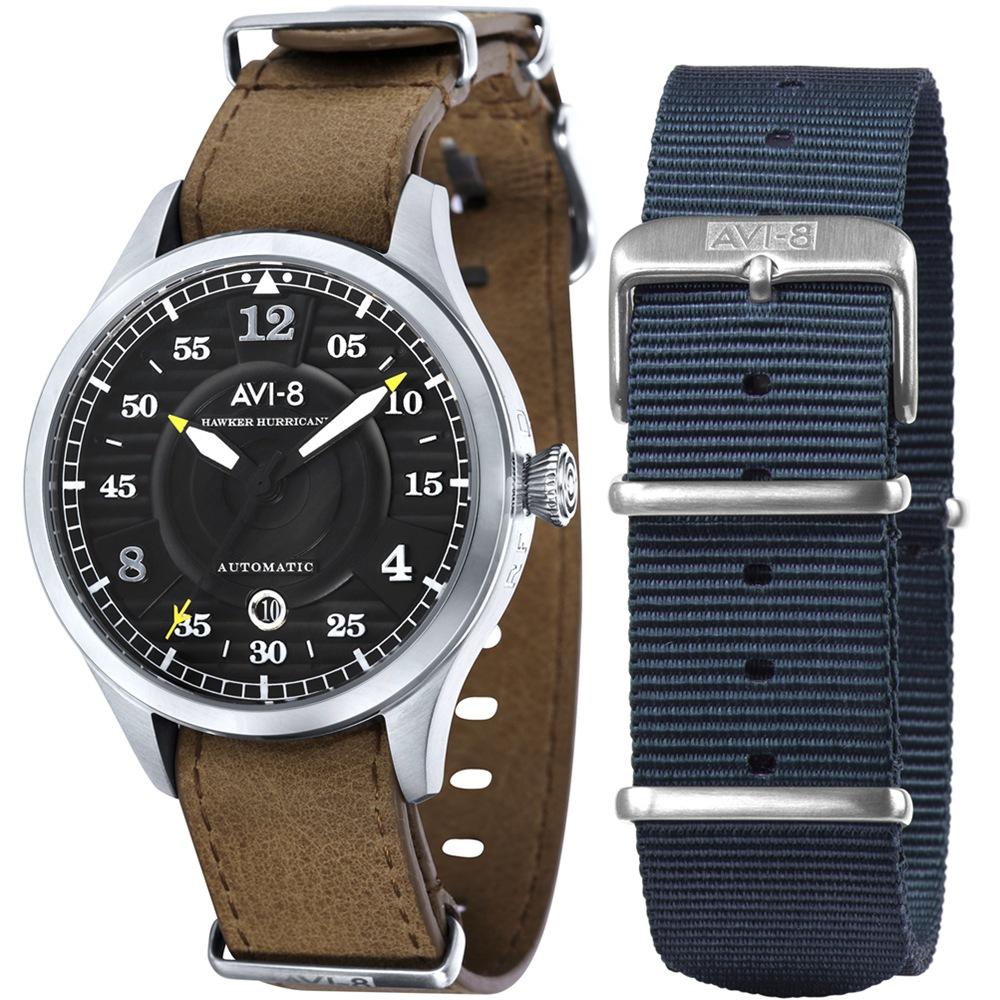 AVI-8 飛行錶 HAWKER HURRICANE 機械禮盒組-黑x咖啡/43mm