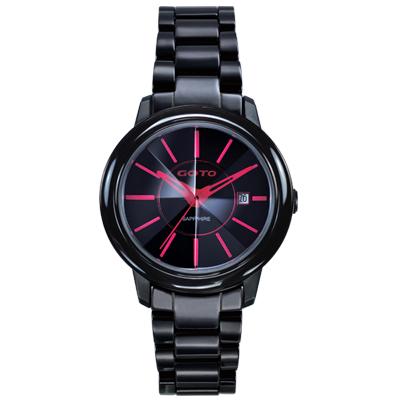 GOTO 冒險輕盈時尚腕錶-IP黑x紅/34mm