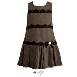 Anny氣質優雅蕾絲條紋A字紋洋裝*4227咖